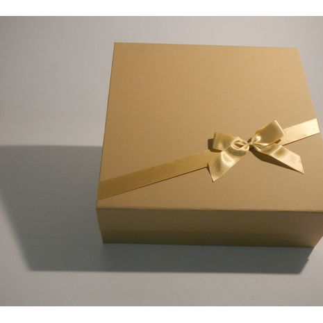 Cream Square Gift box with gold bow and ribbon