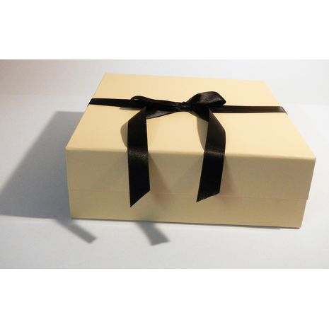 Cream and Black two tone hamper with ribbon